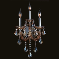 Worldwide W23113C12-AM Lyre 3 Lamp 20 Inch Tall Candle Sconce Lighting - Amber Crystal