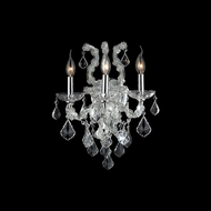 Worldwide W23116C15-CL Lyre 3 Candle Clear Crystal 19 Inch Tall Lamp Sconce