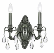 Crystorama 5562-PW-CL-MWP Dawson 12 Inch Tall Pewter Candle Wall Sconce Light Fixture