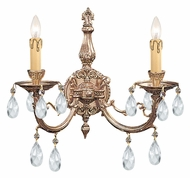 Crystorama 492-OB-CL-MWP Etta Olde Brass finish 16 Inch Wide Traditional 2 Candle Lamp Sconce