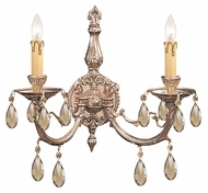 Crystorama 492-OB-GT-MWP Etta Golden Teak Crystal 16 Inch Wide Brass 2 Candle Wall Sconce