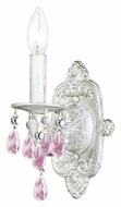 Crystorama 5021-AW-RO-MWP Sutton Rose Crystal Antique White 12 Inch Tall Lighting Sconce