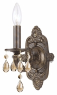 Crystorama 5021-VB-GT-MWP Sutton Golden Teak Crystal 12 Inch Tall Venetian Bronze Sconce Light
