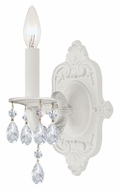 Crystorama 5021-WW-CL-MWP Paris Flea Market Wet White Finish 12 Inch Tall Clear Crystal Candle Wall Sconce