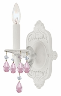 Crystorama 5021-WW-RO-MWP Paris Flea Market Rose Crystal 12 Inch Tall Candle Wet White Wall Lighting