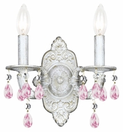 Crystorama 5022-AW-RO-MWP Sutton 2 Candle Antique White Finish 15 Inch Tall Wall Sconce Lamp - Rose Crystal