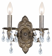Crystorama 5022-VB-CL-MWP Sutton Venetian Bronze Finish 15 Inch Tall 2 Lamp Candle Sconce - Clear Crystal