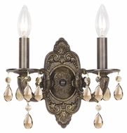 Crystorama 5022-VB-GT-MWP Sutton 15 Inch Tall Venetian Bronze 2 Light Wall Sconce - Golden Teak Crystal