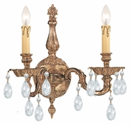 Crystorama 2502-OB-CL-MWP Cortland Traditional Olde Brass 2 Candle Sconce Lighting - 15 Inches Wide