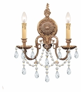 Crystorama 2702-OB-CL-MWP Novella Olde Brass 14 Inch Wide 2 Candle Sconce Light