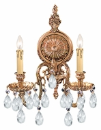 Crystorama 2902-OB-CL-MWP Novella 16 Inch Tall Olde Brass 2 Candle Wall Sconce Light Fixture