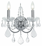 Crystorama 3222-CH-CL-MWP Imperial Polished Chrome 14 Inch Tall 2 Candle Crystal Sconce