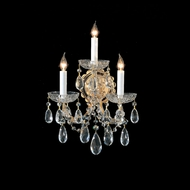 Crystorama 4403-GD-CL-MWP Maria Theresa Gold Finish 14 Inch Tall 3 Candle Crystal Sconce Lighting