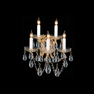 Crystorama 4404-GD-CL-MWP Maria Theresa 16 Inch Tall 5 Candle Gold Finish Lighting Wall Sconce