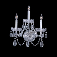 Crystorama 1033-CH-CL-MWP Traditional Crystal Polished Chrome 15 Inch Tall 3 Candle Wall Sconce