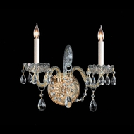 Crystorama 1102-PB-CL-MWP Traditional Crystal Polished Brass 12 Inch Tall Wall Sconce Light Fixture - 2 Candles