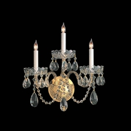 Crystorama 1103-PB-CL-MWP Traditional Crystal 3 Candle 15 Inch Wide Polished Brass Wall Sconce Lighting