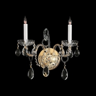 Crystorama 1122-PB-CL-MWP Traditional Crystal Polished Brass Finish 2 Candle Wall Light Fixture