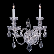 Crystorama 1142-CH-CL-MWP Traditional Crystal Medium Polished Chrome 15 Inch Tall 2 Candle Wall Light Fixture