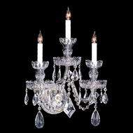Crystorama 1143-CH-CL-MWP Traditional Crystal Large 3 Candle 19 Inch Tall Polished Chrome 15 Inch Wide Wall Light