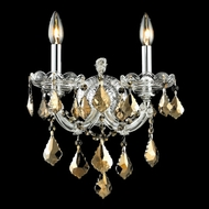 Elegant 2800W2C-GT-RC Maria Theresa 16  Tall Golden Teak Crystal Wall Sconce