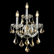 Elegant 2800W3C-GT-RC Maria Theresa 22 Tall Chrome Vintage Wall Sconce with Golden Teak Crystal