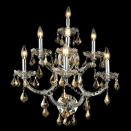 Elegant 2800W7C-GT-RC Maria Theresa Chrome Golden Teak Crystal Candle Wall Sconce