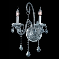 Elegant 7852W2SS-SS-RC Verona 2 Candle French Pendeloque Crystal Drop Wall Lamp