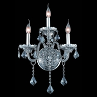 Elegant 7853W3SS-SS-RC Verona Classic Silver Shade Wall Sconce with Scalloped Crystal Drops