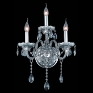 Elegant 7953W3SS-SS-RC Verona Rounded Crystal Drop Silver Shade Candle Wall Sconce