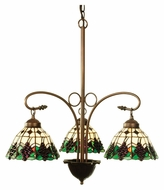 Meyda Tiffany 103183 Mahogany Bronze 24 Inch Diameter 3 Lamp Lighting Chandelier