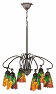 Meyda Tiffany 104887 Iris 6 Lamp 26 Inch Diameter Tiffany Art Glass Chandelier Light