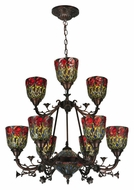 Meyda Tiffany 132659 Red Rosebud 9 Lamp 28 Inch Diameter Floral Hanging Chandelier Lighting