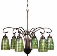 Meyda Tiffany 18649 Green Geometric 6 Light Tiffany Chandelier