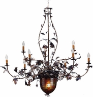 Meyda Tiffany Acorn and Oak Leaves 63 inches wide 9 Bulb Chandelier
