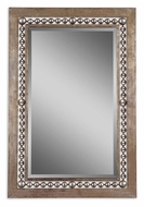 Uttermost 13724 Fidda Antique Silver Leaf beaded Frame 49 Inch Tall Rectangular Home Mirror