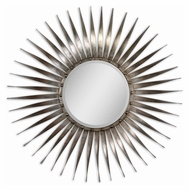Uttermost 13769 Sedona Antiqued Silver Leaf Bursting Ray 41 Inch Diameter Circle Mirror