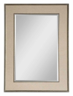 Uttermost 14463 Marilla Wall Mounted Beaded Taupe Linen Home Mirror - 45 Inches Tall