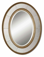 Uttermost 14511-B Lara Champagne Silver Leaf 33 Inch Tall Wall Mounted Oval Mirror