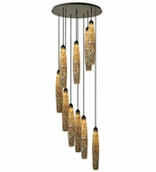 Meyda Tiffany 112057 Checkers Timeless Bronze 48 Inch Diameter 10 Lamp Multi Pendant