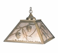 Meyda Tiffany 109562 Square Whispering Pines Rustic 22 Inch Diameter Antique Copper Pendant Lamp