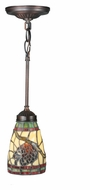 Meyda Tiffany 106294 Burgundy Pinecone 5 Inch Diameter Mahogany Bronze Mini Pendant Light