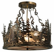Meyda Tiffany 132702 21 Inch Diameter Deer At Dusk Silver Mica Pendant Lighting Fixture