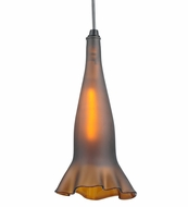 Meyda Tiffany 114153 Fluted and Finned Wine Bottle Amber Frosted Contemporary Mini Pendant