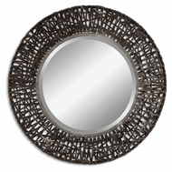 Uttermost 11587-B Alita 36 Inch Diameter Black Woven Metal Beveled Circle Mirror