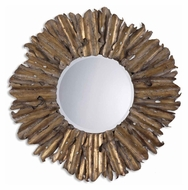Uttermost 12742-B Hemani Antiqued Gold Leaf Hammered Metal 42 Inch Diameter Circle Mirror