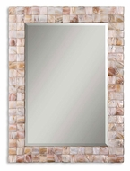 Uttermost 12763 Vivian 36 Inch Tall Mother of Pearl Mosaic Frame Wall Mirror