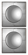 Uttermost 12829 Savio 15 Inch Tall Small Convex Antique Silver Leaf Accent Mirrors