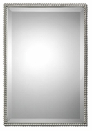 Uttermost 1113 Sherise Beaded Brushed Nickel 31 Inch Tall Beveled Mirror