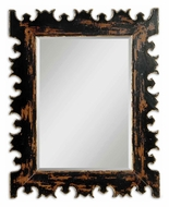 Uttermost 5020 Caissa 43 Inch Tall Carved Outline Distressed Antique Black Wall Mirror